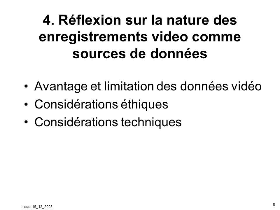 cours 15_12_2005 9 a - Avantage des données vidéo Densité –Lenregistrement vidéo capture deux flux de données : audio et vidéo en temps réel –La vidéo nous fournit plus de données contextuelles que les données audio –Lenregistrement vidéo permet de capturer simultanément des détails des comportements (verbaux et non verbaux) des personnes quun observateur ne peut capturer quand il code directement ou quand il prend des notes