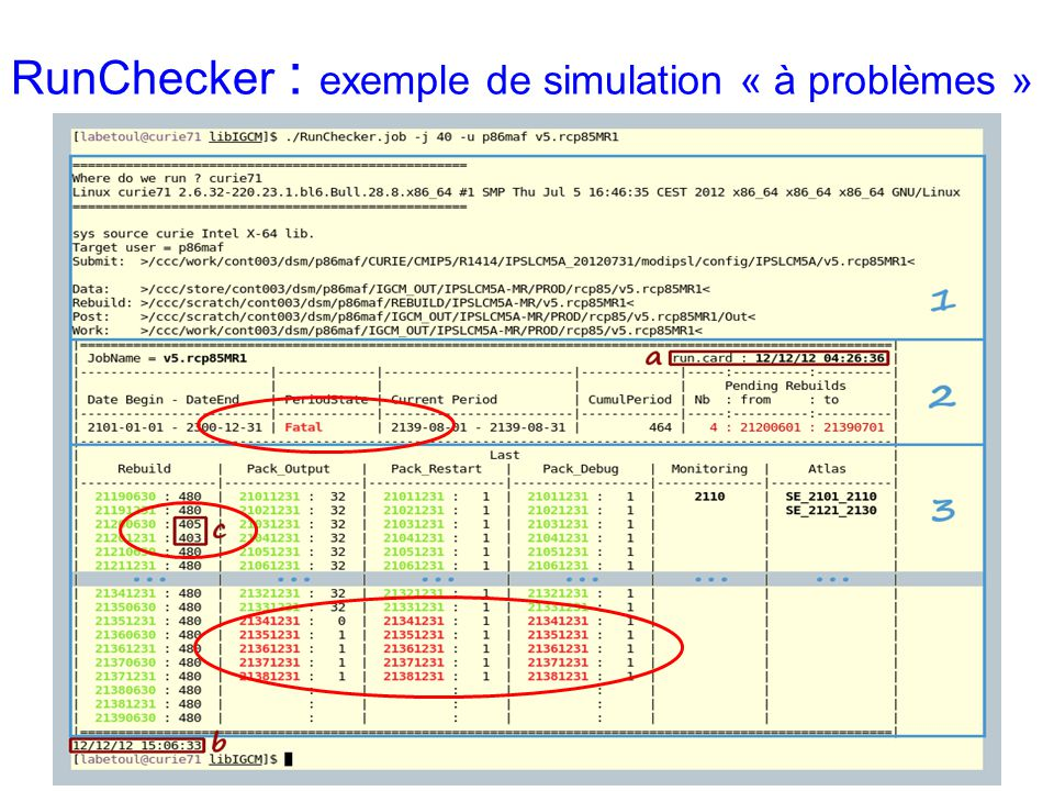 Si souci, vous recevrez un message de ce type : Dear user, Simulation v5.historicalCMR5 is failed on supercomputer curie2024.