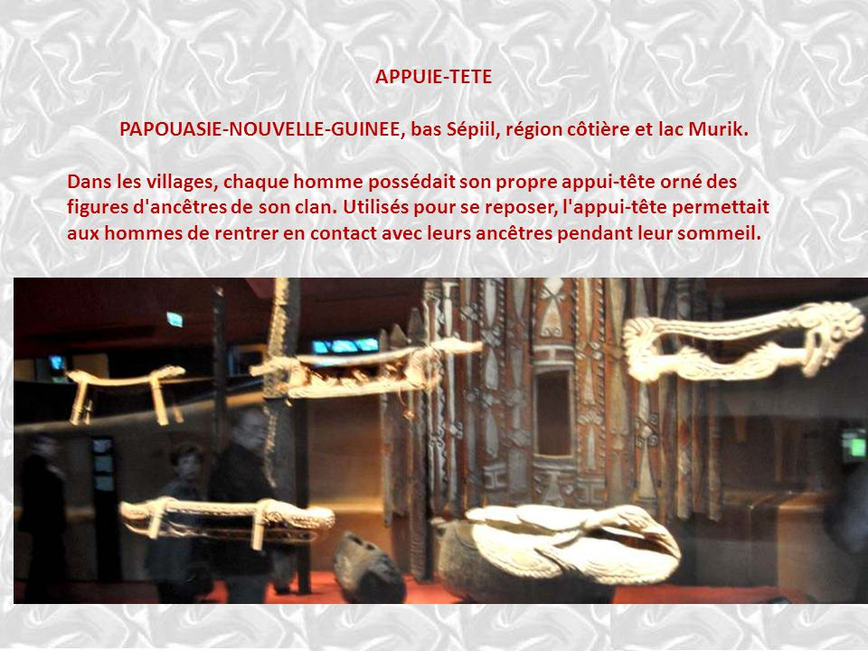 APPUIE-TETE PAPOUASIE-NOUVELLE-GUINEE, bas Sépiil, région côtière et lac Murik.