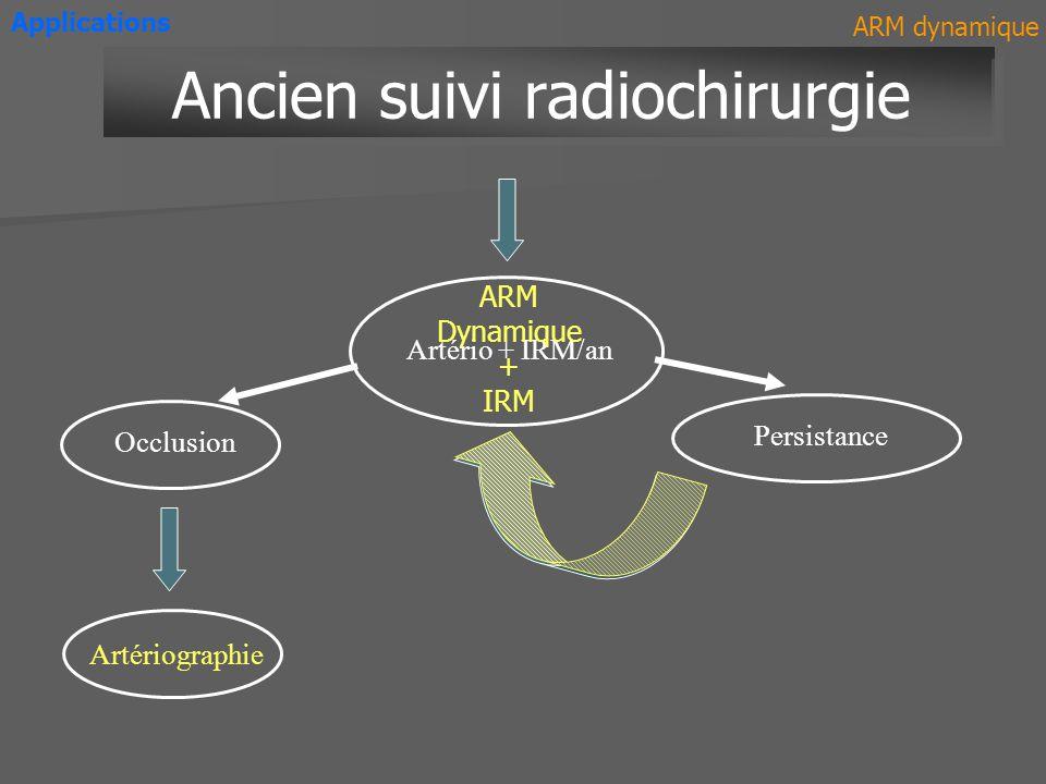 HématomeHématome TOF ARM Applications T1 T1 Gd ARM dynamique Thrombose veineuse cérébrale MAV ARM T1 Gd ARM dynamique + IRM