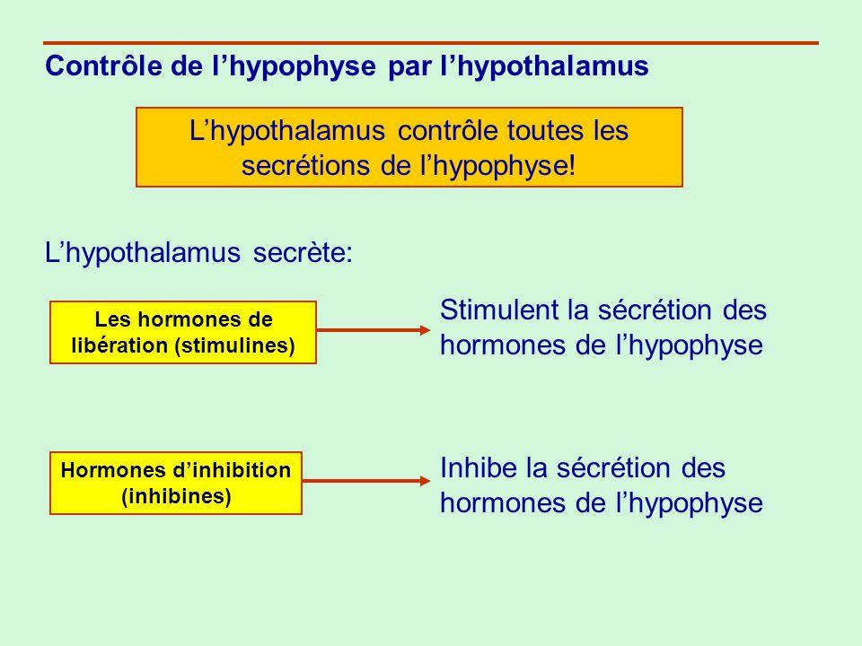 Contrôle des hormones par des boucles de rétroactions (négative et positive) Boucle de rétroaction négative : Ex.