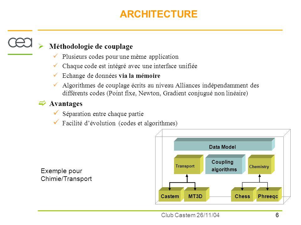7 Club Castem 26/11/04 ARCHITECTURE Type dutilisation et atouts Uniformisation de linterface utilisateurs et des formats maillage et champs à travers différents codes Comparaison de codes pour une même application (ex.