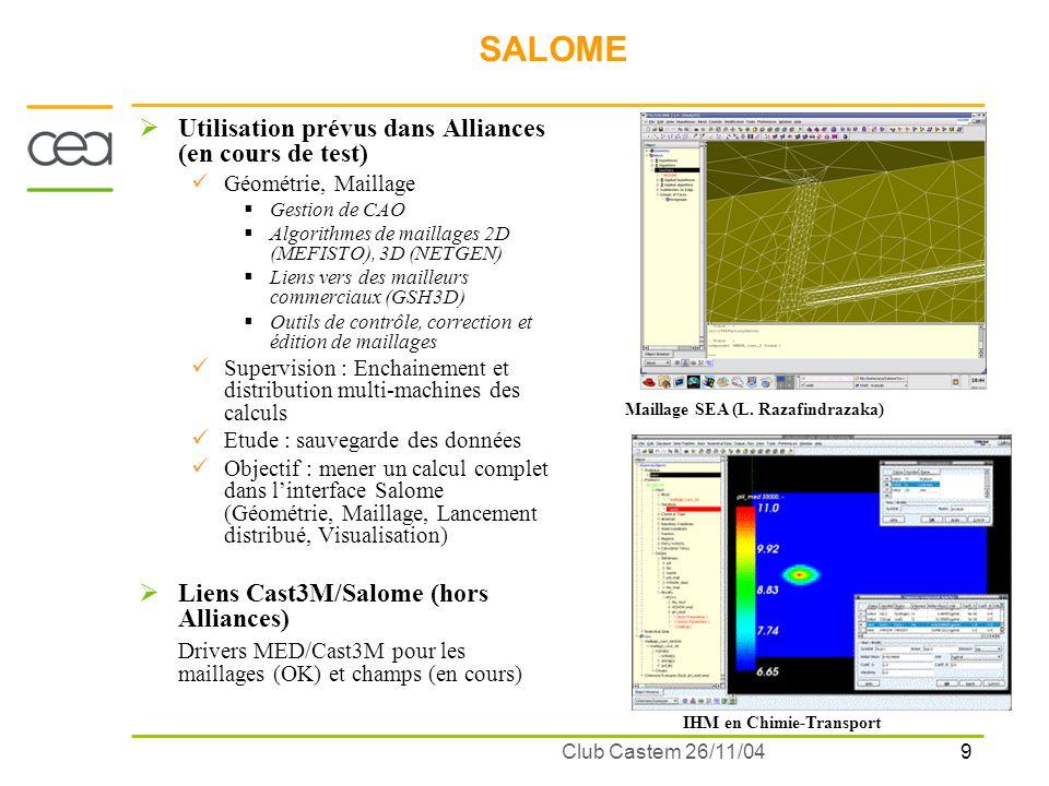 10 Club Castem 26/11/04 COMPOSANT CAST3M Intégration du composant Cast3M dans Alliances réalisée par F.