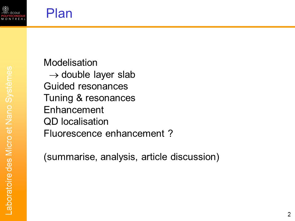 Laboratoire des Micro et Nano Systèmes 3 Modelisation of PhC slabs T double layer PhCT single layer PhCT single layer slabT double layer slab Analytical formula (short) Analytical formula (long) Simulation (matrix transfer) Model: T 1 slab + equiv.