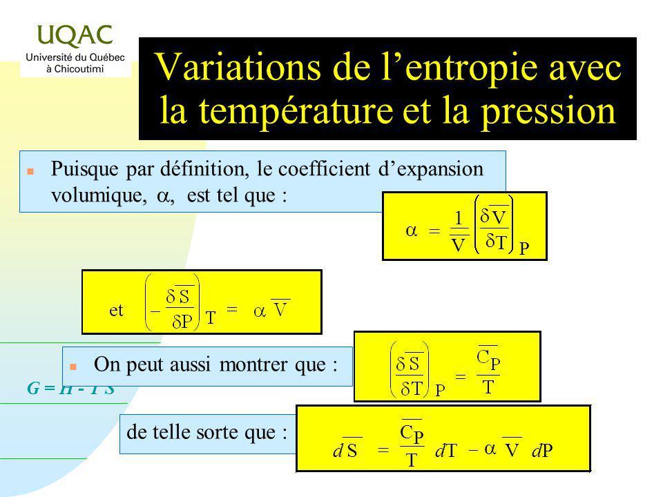 G = H - T S Puisque par définition, le coefficient dexpansion volumique,, est tel que : n On peut aussi montrer que : = 1 V V T P de telle sorte que : d S = C P T dTdT V dPdP Variations de lentropie avec la température et la pression