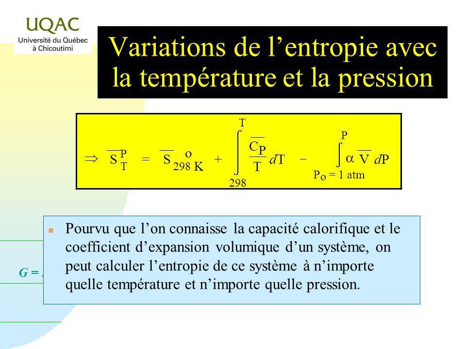 G = H - T S n Pourvu que lon connaisse la capacité calorifique et le coefficient dexpansion volumique dun système, on peut calculer lentropie de ce système à nimporte quelle température et nimporte quelle pression.