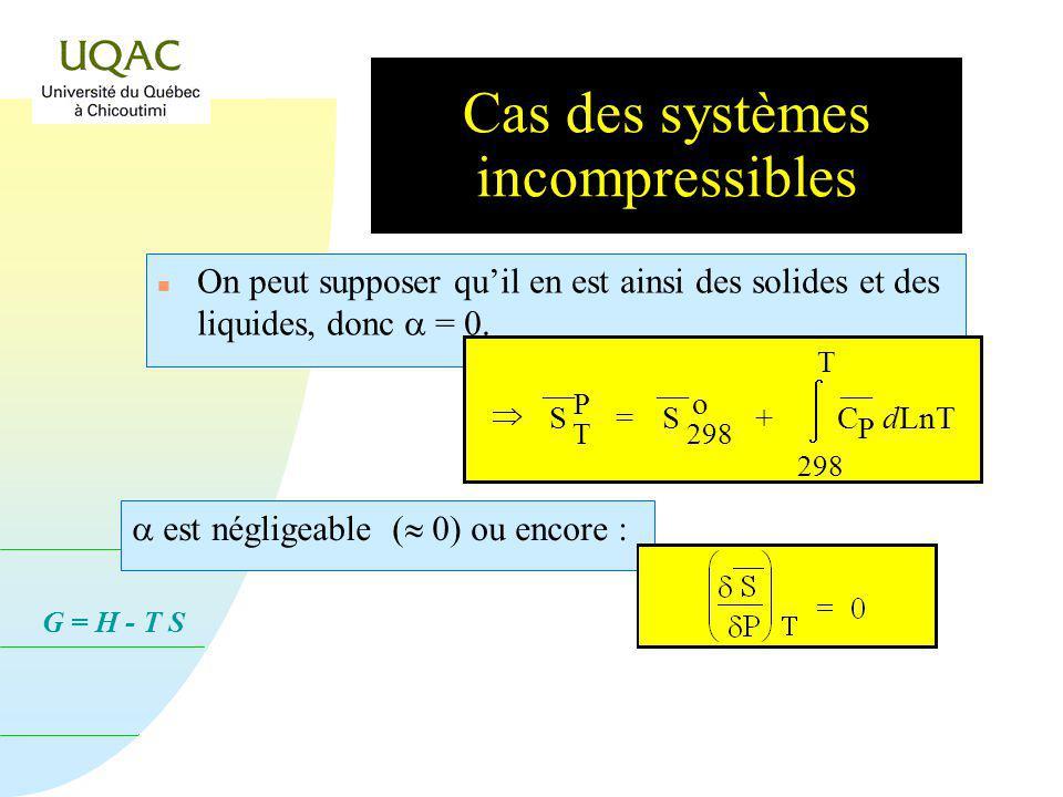 G = H - T S Cas des systèmes incompressibles On peut supposer quil en est ainsi des solides et des liquides, donc = 0.