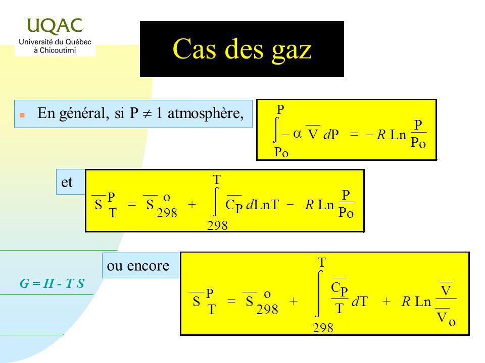 G = H - T S Cas des gaz n En général, si P 1 atmosphère, P o P V dP dP = R Ln P P o et S P T = S o 298 + 298 T C P dLnT R Ln P P o ou encore S P T = S o 298 + 298 T C P T dT dT + R Ln V V o