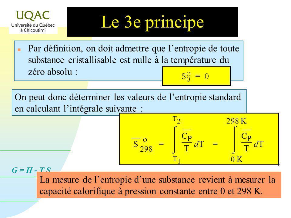 G = H - T S Le 3e principe n Par définition, on doit admettre que lentropie de toute substance cristallisable est nulle à la température du zéro absolu : On peut donc déterminer les valeurs de lentropie standard en calculant lintégrale suivante : La mesure de lentropie dune substance revient à mesurer la capacité calorifique à pression constante entre 0 et 298 K.