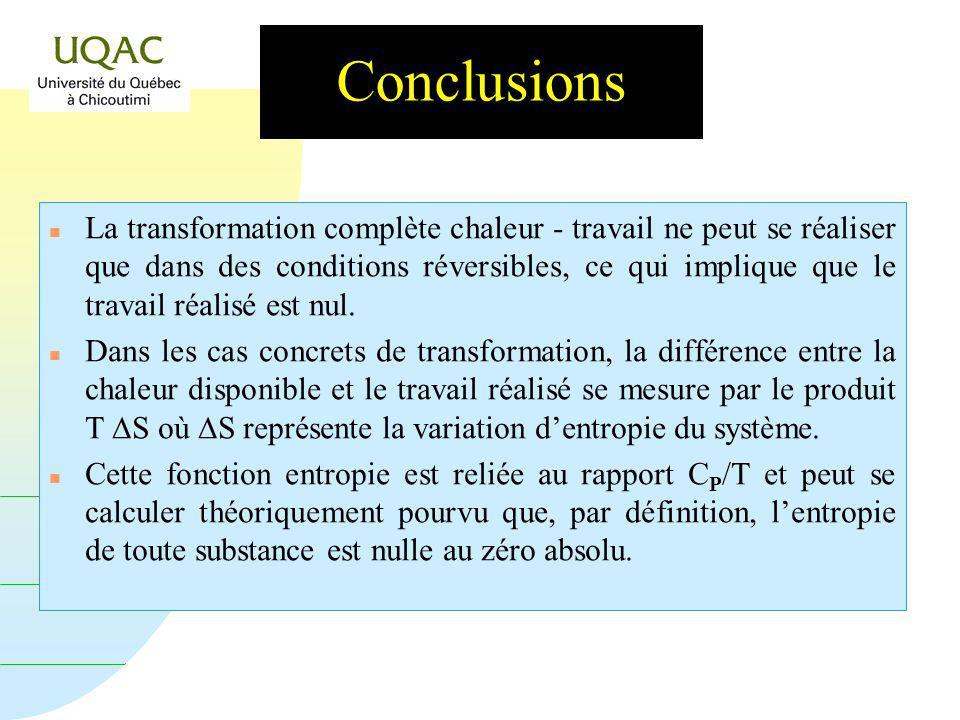 G = H - T S Conclusions n La transformation complète chaleur - travail ne peut se réaliser que dans des conditions réversibles, ce qui implique que le travail réalisé est nul.