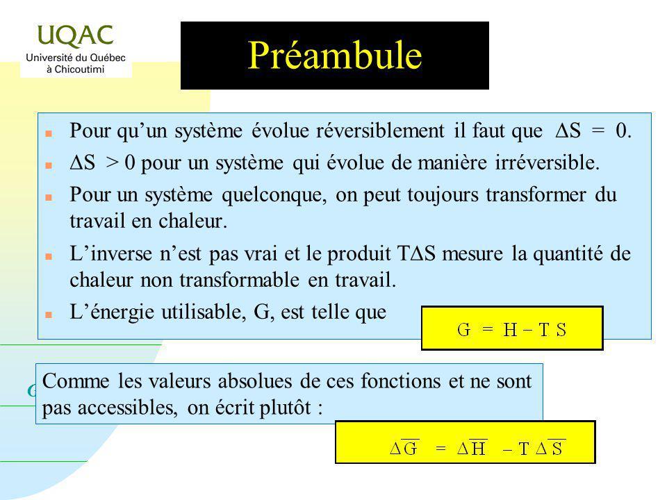 G = H - T S Préambule Pour quun système évolue réversiblement il faut que S = 0.