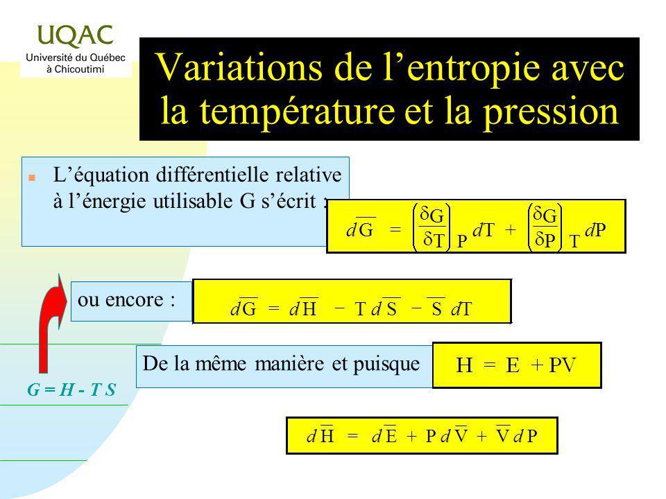 G = H - T S Variations de lentropie avec la température et la pression n Léquation différentielle relative à lénergie utilisable G sécrit : De la même manière et puisque d H = d E + P d V + V d P d G = G T P dT + G P T dP dP ou encore : d G = d H T d S S dTdT