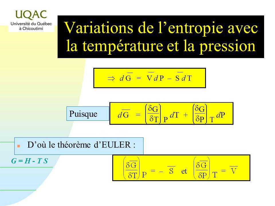 G = H - T S n Doù le théorème dEULER : d G = V d P S d T Puisque d G = G T P dT + G P T dP dP Variations de lentropie avec la température et la pression
