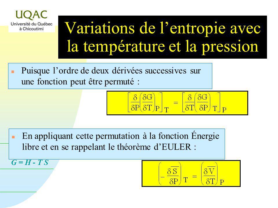 G = H - T S n Puisque lordre de deux dérivées successives sur une fonction peut être permuté : n En appliquant cette permutation à la fonction Énergie libre et en se rappelant le théorème dEULER : Variations de lentropie avec la température et la pression