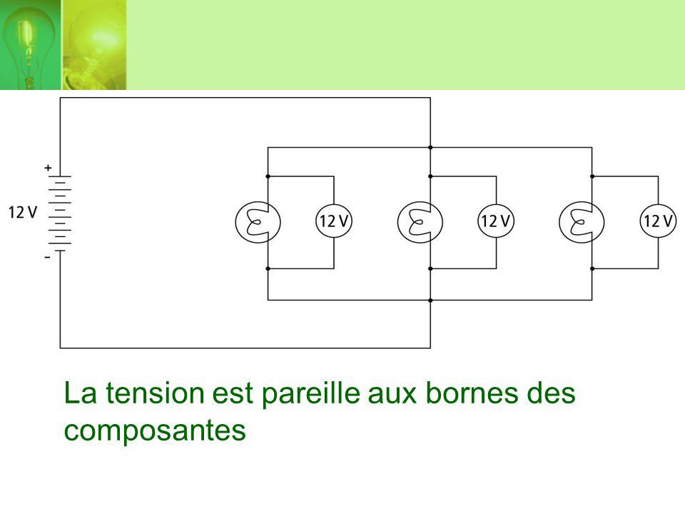 Lintensité (ampères) total est divisée, une partie des charges circulant dans chaque branche du circuit