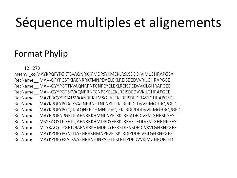 Séquence multiples et alignements Format Clustal CLUSTAL W (1.83) multiple sequence alignment ref YP_686529.1  MAYKPQFYPGKTSVAQNRKKFMDPSYKMEKLRSLSDDDIVIMLGHRAPGSAYKTIHPPLT gi 126877 MA---QFYPGSTKIAENRRKFMNPDAELEKLREISDEDVVRILGHRAPGEEYPSVHPPLE gi 126879 MA---QYYPGTTKVAQNRRNFCNPEYELEKLREISDEDVVKILGHRAPGEEYPSVHPPLE gi 3334251 MA---QYYPGTSKVAQNRRNFCNPEYELEKLREISDEDVVKILGHRAPGEEYPSVHPPLE gi 126876 MAYERQYYPGATSVAANRRKHMSG--KLEKLREISDEDLTAVLGHRAPGSDYPSTHPPLA gi 126880 MAYKPQFYPGATKVAENRRNHLNPNYELEKLREIPDEDVVKIMGHRQPGEDYKTVHPPLE gi 2842572 MAYKPQFYPGQTKIAQNRRDHMNPDVQLEKLRDIPDDDVVKIMGHRQPGEDYKTVHPPLE gi 33301226 MAYEPQFNPGETKIAENRRKHMNPNYELKKLREIADEDIVRVLGHRSPGESFKTVHPPLE gi 313104216 MSYKAQYTPGETQIAENRRKHMDPDYEFRKLREVSDEDLVKVLGHRNPGESYKSVHPPLD gi 20532398 MTYKAQYTPGETQIAENRRKHMDPDYEFRKLREVSDEDLVKVLGHRNPGESYKSVHPPLD gi 2497838 MAYKPQFYPGNTLIAENRRKHMNPEVELKKLRDIPDDEIVKILGHRNPGESYKTVHPPLE gi 126881 MAYKPQFYPSATKVAENRRNHINPAFELEKLREIPDEDVVKIMGHRQPSEDYKTVHPPLE * * * * ** *** * *** * ****