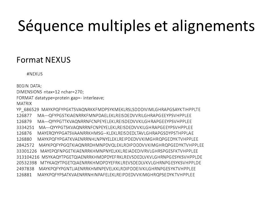 Séquence multiples et alignements Visualiser avec un éditeur dalignement (MEGA, SeaView, ebiotools, …)