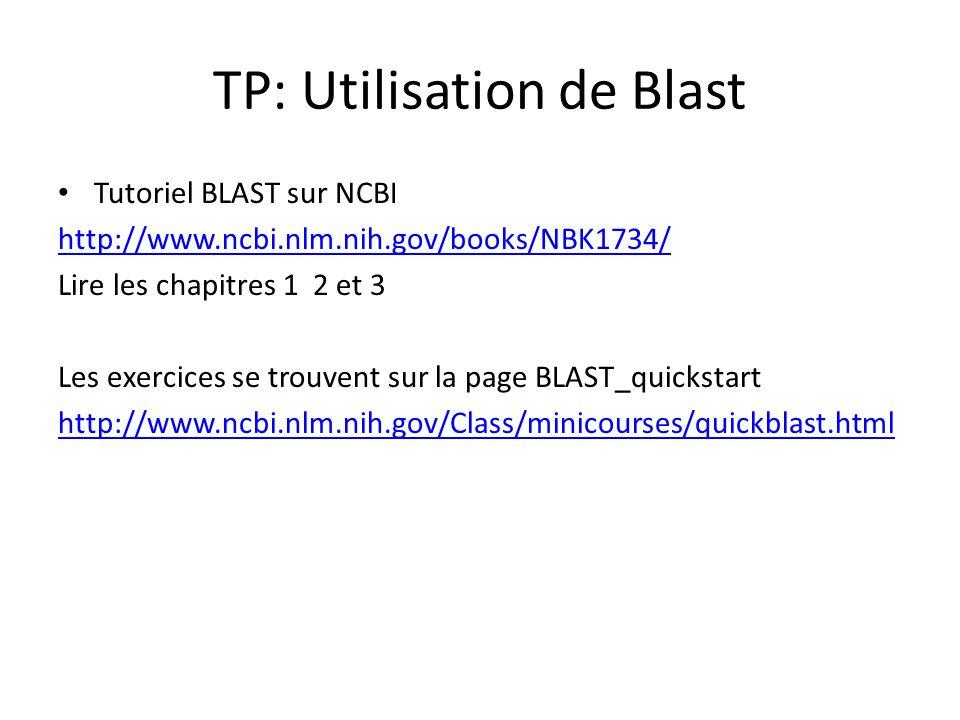 TP1: Utilisation de Blast Blast est un programme dalignement de séquence.