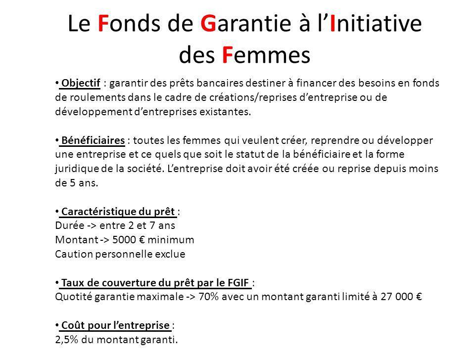 Le Fonds de Garantie à lInitiative des Femmes Procédures : 1 ère étape -> constituer une demande auprès dESIA (dossier type) 2 ème étape -> une expertise vous sera proposée le cas échéant 3 ème étape -> un comité dengagements statuera sur votre demande