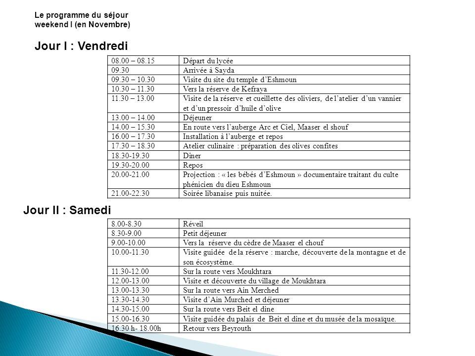 Le programme du weekend II (en Avril) Jour I : Vendredi Départ du lycée08.00 – 08.15 Arrivée au centre ville de Beyrouth09.00 Visite des thermes romaines09.00 – 10.00 En route vers Hazmiyeh10.00 – 10.30 Visite de laqueduc romain de Qanater Zobaideh10.30 – 11.30 En route vers le village de Beit-Meri11.30 – 12.15 Visite du site dune petite ville romaine (thermes, temple, habitations) 12.15 – 13.15 Déjeuner13.15 – 14.30 En route vers Jeita14.30-16.00 Visite de la grotte de Jeita16.00-17.30 En route vers Ashqout17.30-18.00 Arrivée, installation au couvent de Oum el Nour (Guides Libanais) et repos 18.00-19.30 Dîner puis nuitée.19.30
