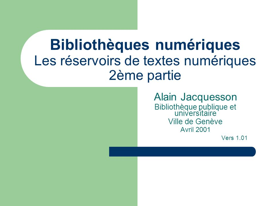Réservoirs / Jacquesson / Avril 2001 2 EDT – Electronic Thesis and Dissertations (Univ.