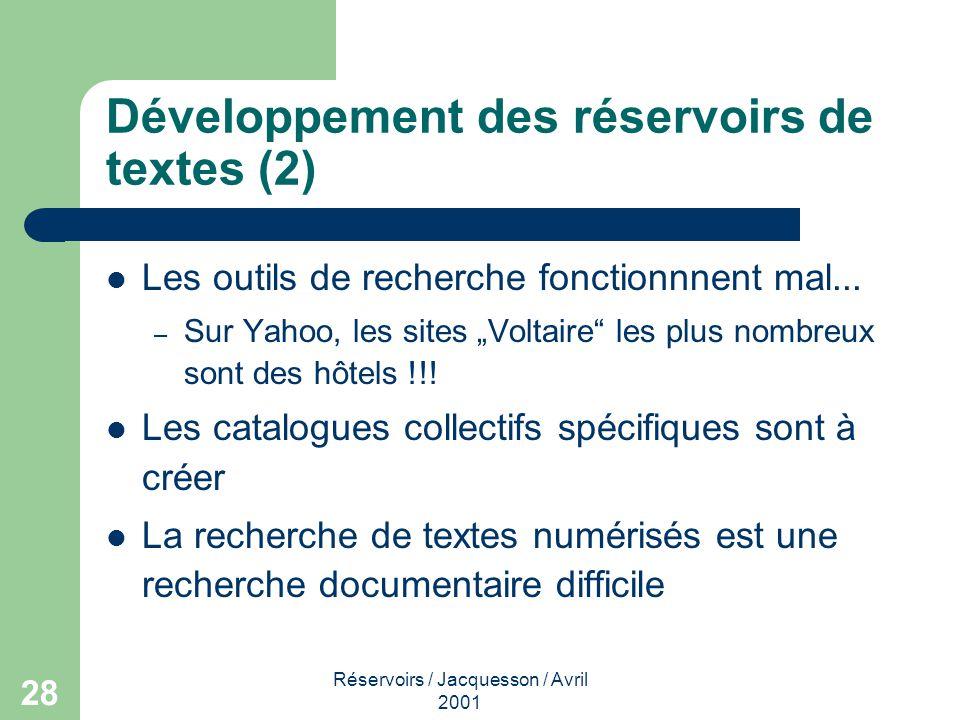 Réservoirs / Jacquesson / Avril 2001 29 Avertissement !!.
