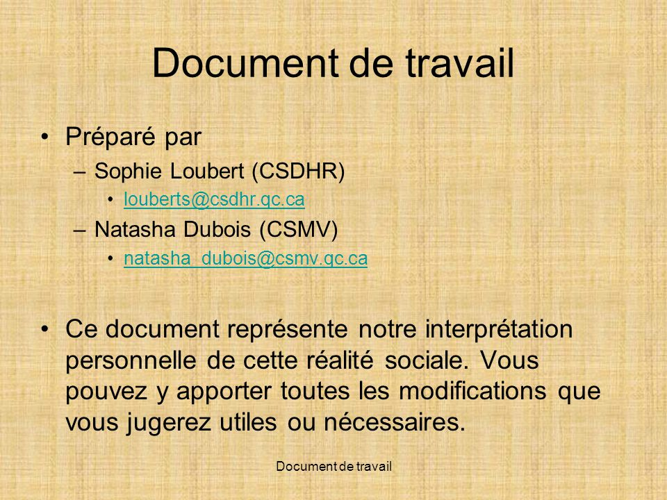 Document de travail