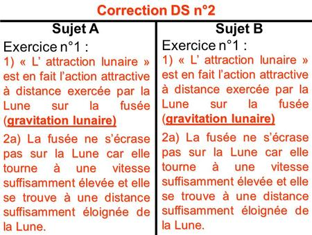 Correction DS n°2 Sujet A Sujet B