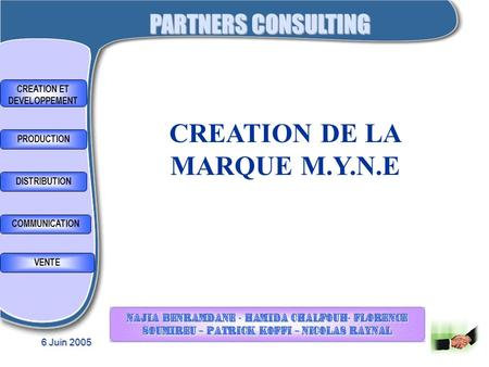 CREATION ET DEVELOPPEMENT CREATION DE LA MARQUE M.Y.N.E