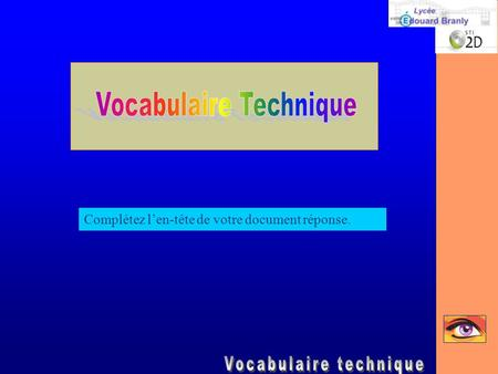 Vocabulaire Technique