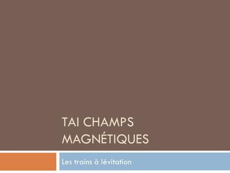 TAI Champs Magnétiques