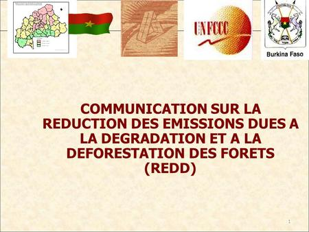 1 COMMUNICATION SUR LA REDUCTION DES EMISSIONS DUES A LA DEGRADATION ET A LA DEFORESTATION DES FORETS (REDD)