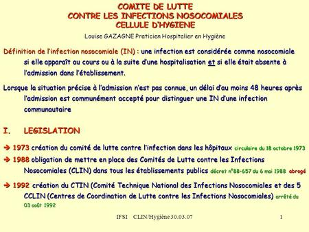 CONTRE LES INFECTIONS NOSOCOMIALES