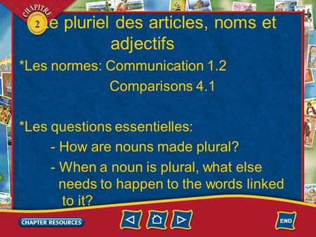2 Le pluriel des articles, noms et adjectifs *Les normes: Communication 1.2 Comparisons 4.1 *Les questions essentielles: - How are nouns made plural? -