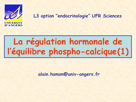 "La régulation hormonale de l'équilibre phospho-calcique (1) L3 option ""endocrinologie"" UFR Sciences."