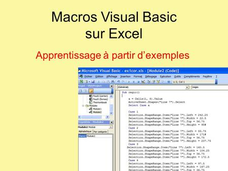 Macros Visual Basic sur Excel