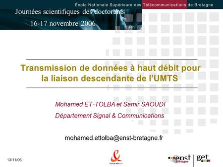 Mohamed ET-TOLBA et Samir SAOUDI Département Signal & Communications