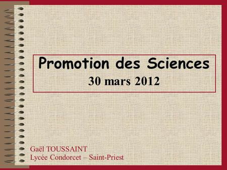 Promotion des Sciences