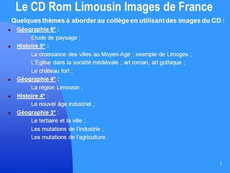 Le CD Rom Limousin Images de France