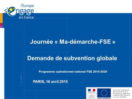 Demande de subvention globale