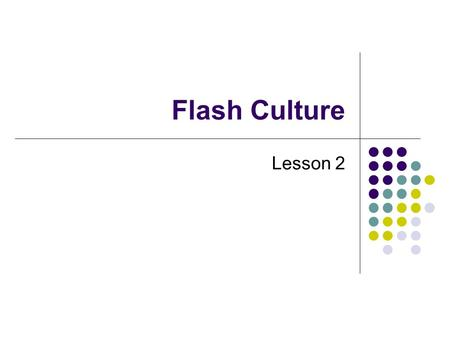 Flash Culture Lesson 2.