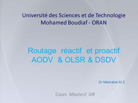 Université des Sciences et de Technologie Mohamed Boudiaf - ORAN