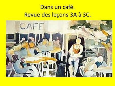 Dans un café. Revue des leçons 3A à 3C.. 1. How would you tell a French friend that A. you are really hungry B. you are really thirsty.