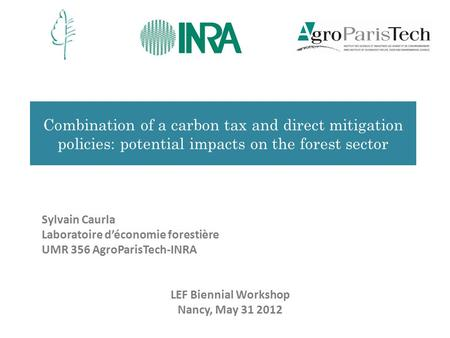 Combination of a carbon tax and direct mitigation policies: potential impacts on the forest sector Sylvain Caurla Laboratoire d'économie forestière UMR.