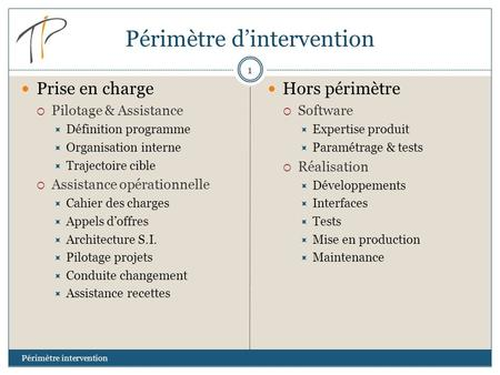 Périmètre d'intervention