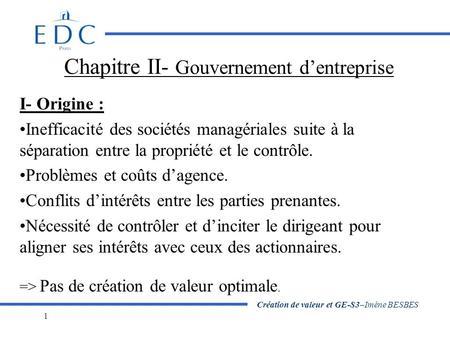 La gouvernance et les parties prenantes de lentreprise probl matique le management doit il - Creation de valeur porter ...
