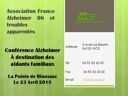 Association France Alzheimer 06 et troubles apparentés