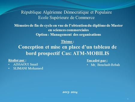 Option : Management des organisations