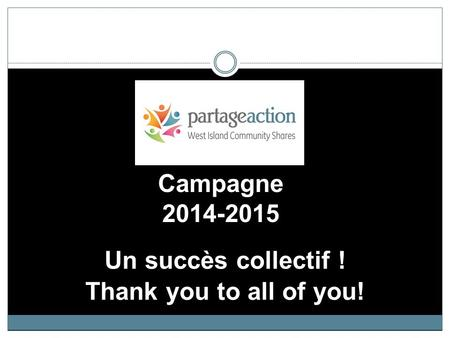Campagne 2014-2015 Un succès collectif ! Thank you to all of you!