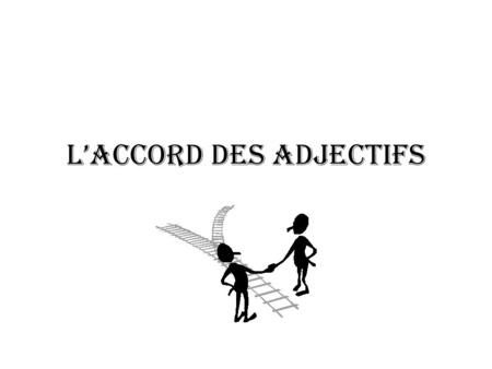 L'accord des adjectifs Adjectives must agree with the noun they modify (describe) Féminin Masculin Singulier (1) Une fille intelligente Un garçon intelligent.